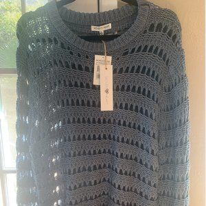 Nordstrom Woven Heart Open Knit Sweater Grey NWT